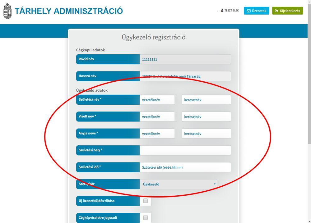 Cégkapu ügykezelő regisztráció 5