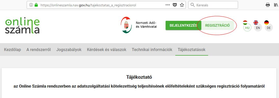 NAV online számla regisztráció 1. lépés