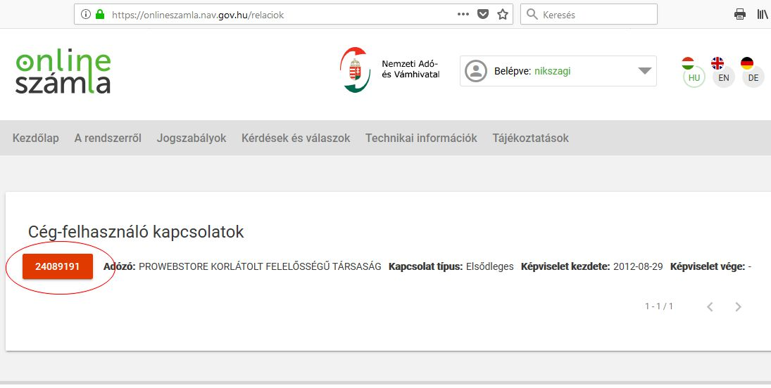 NAV online számla regisztráció 12. lépés