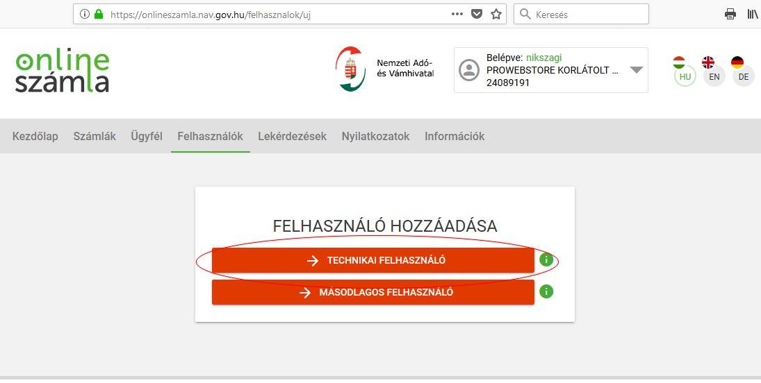 NAV online számla regisztráció 14. lépés