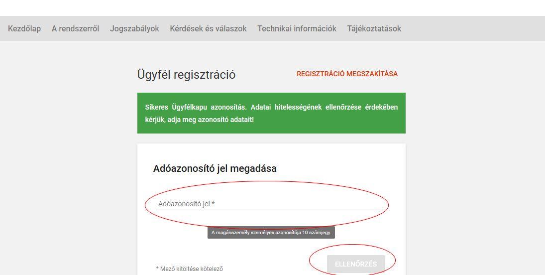 NAV online számla regisztráció 4. lépés