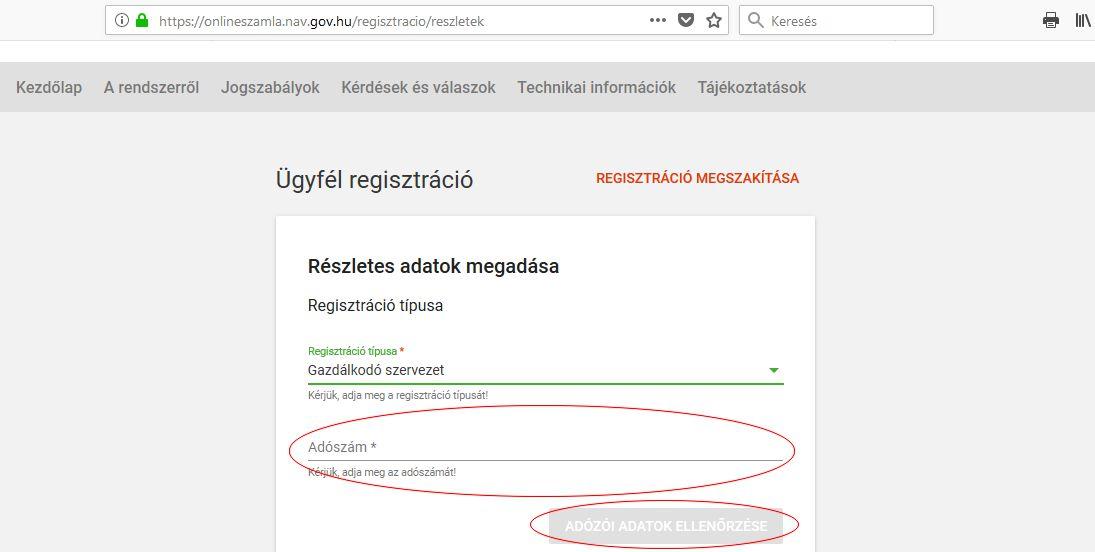 NAV online számla regisztráció 7. lépés