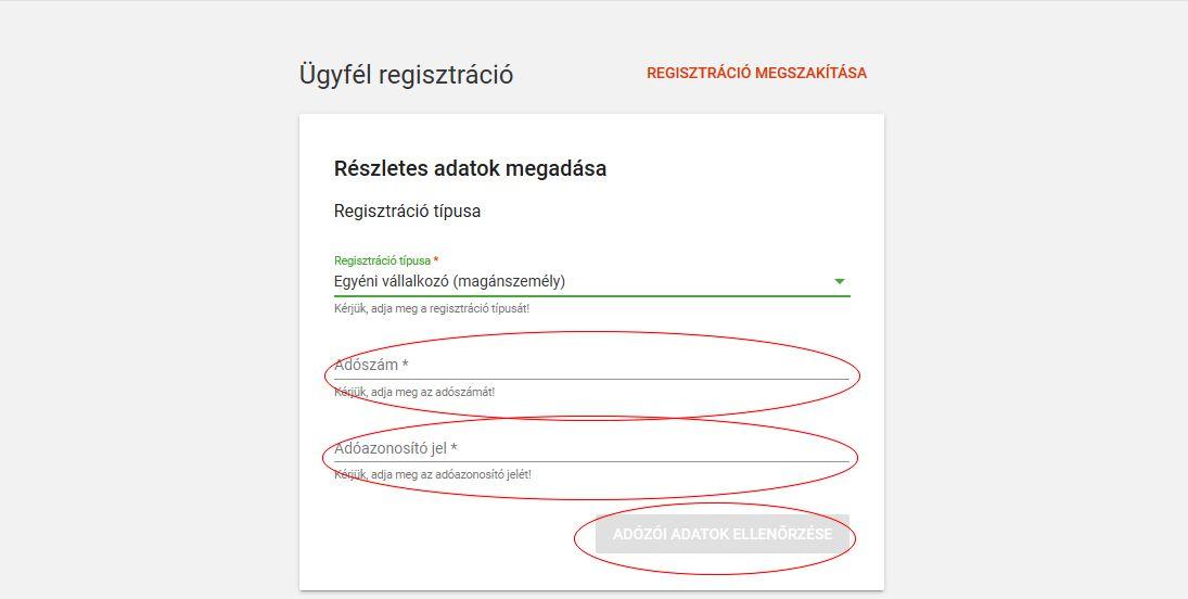 NAV online számla regisztráció 8. lépés