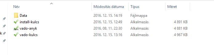 V-ado install KulcsSoft kliens