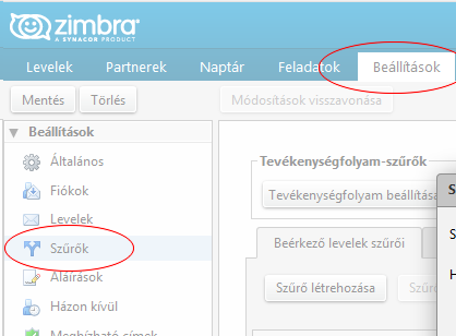 Viki email kliens Zimbra beállítás 1